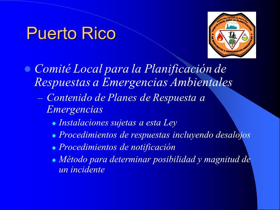 Puerto Rico Comité Local para la Planificación de Respuestas a Emergencias Ambientales. Contenido de Planes de Respuesta a Emergencias.