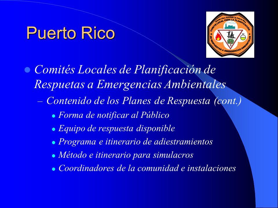 Puerto Rico Comités Locales de Planificación de Respuetas a Emergencias Ambientales. Contenido de los Planes de Respuesta (cont.)