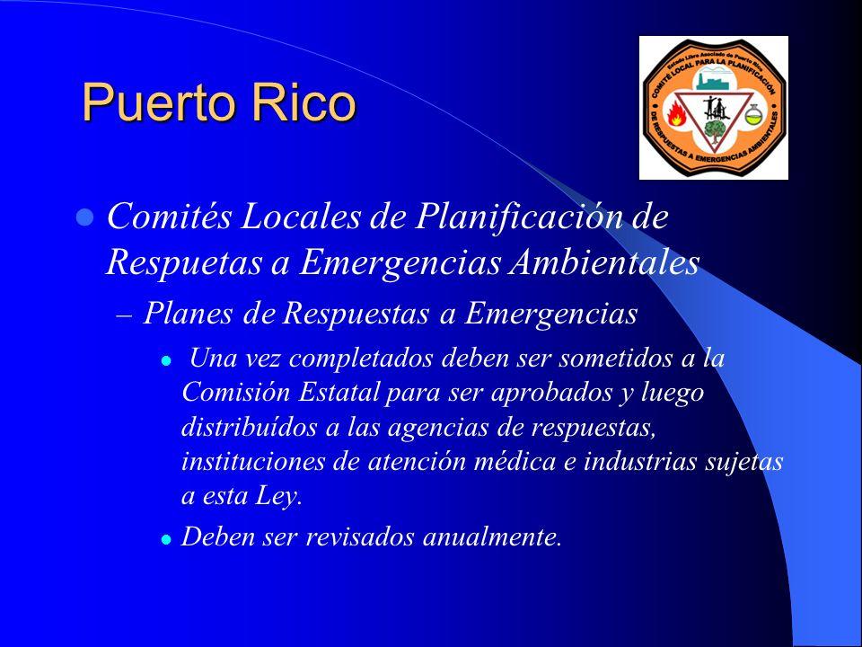 Puerto Rico Comités Locales de Planificación de Respuetas a Emergencias Ambientales. Planes de Respuestas a Emergencias.