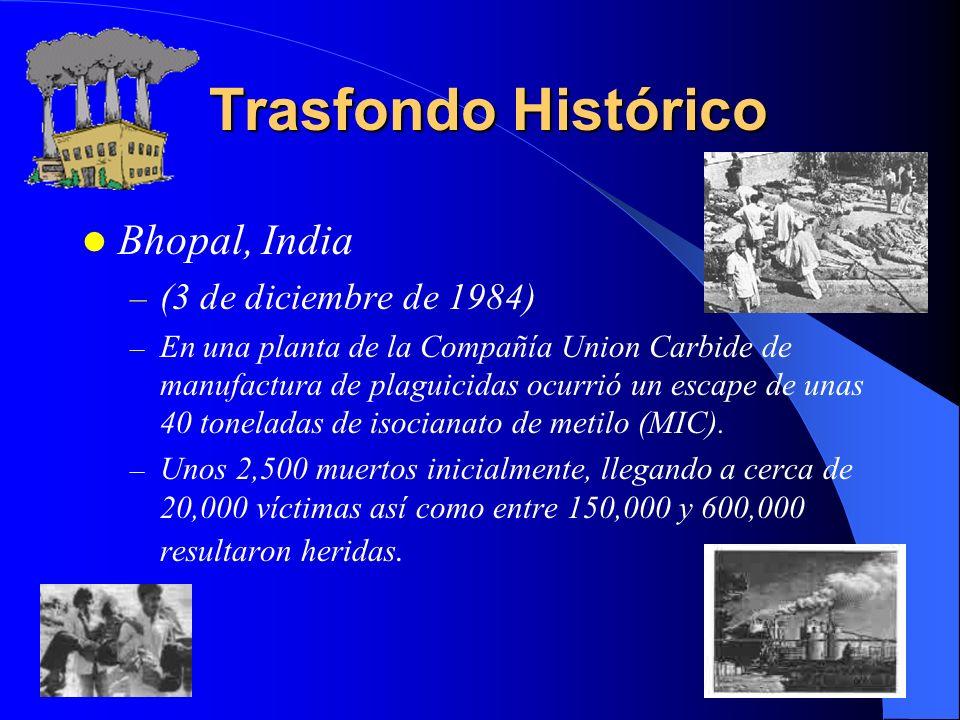 Trasfondo Histórico Bhopal, India (3 de diciembre de 1984)