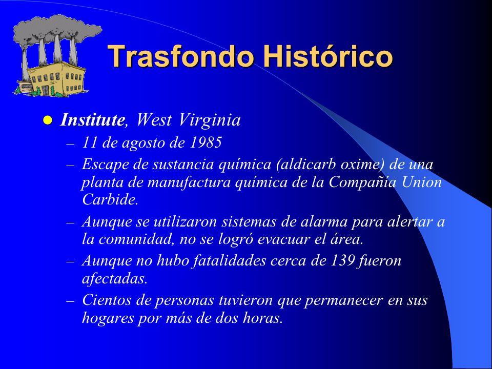 Trasfondo Histórico Institute, West Virginia 11 de agosto de 1985