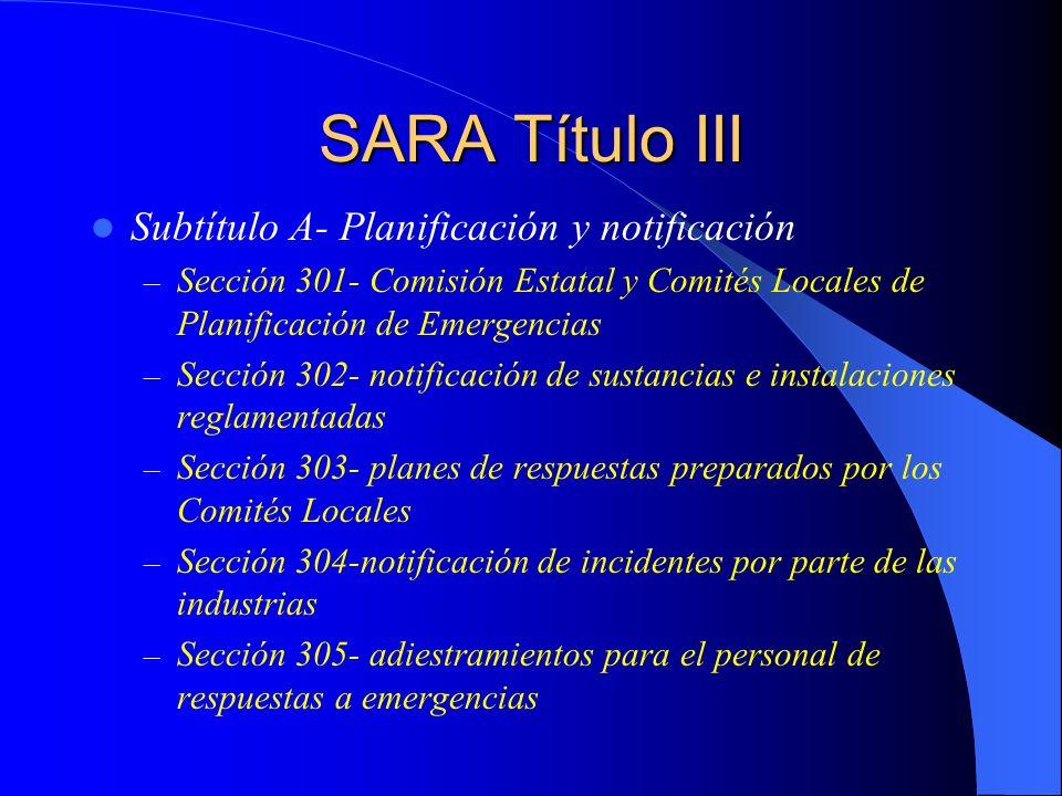 SARA Título III Subtítulo A- Planificación y notificación