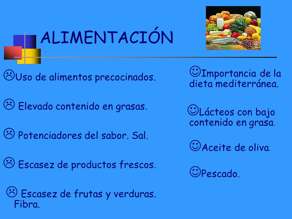 ALIMENTACIÓN Uso de alimentos precocinados.