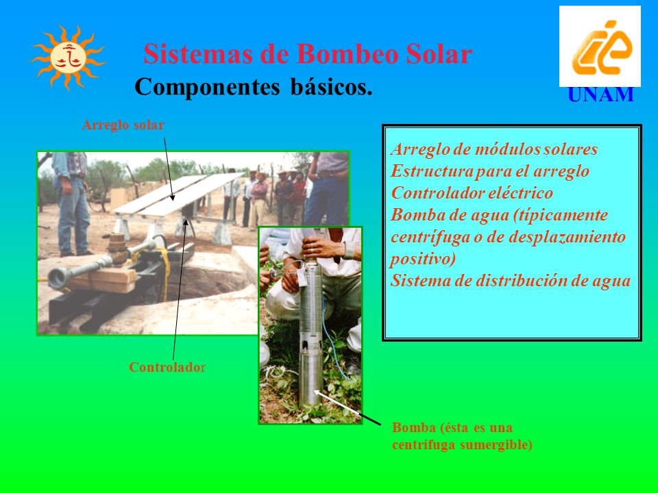 UNAM Sistemas de Bombeo Solar Componentes básicos.