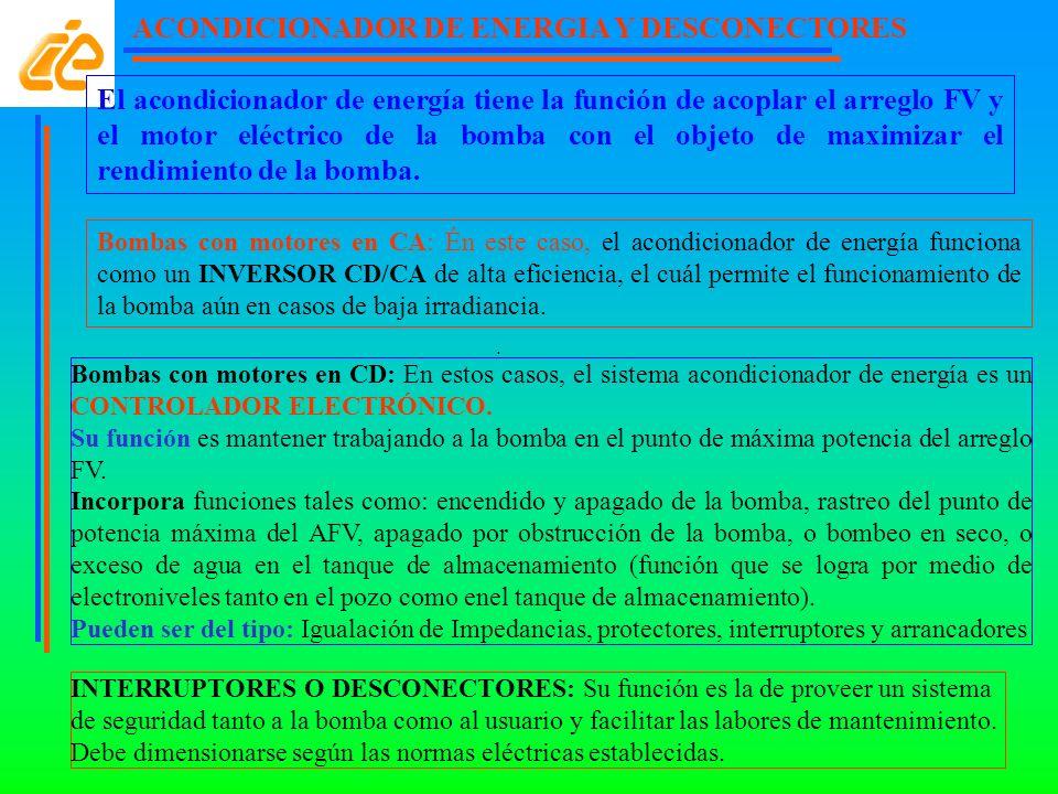 ACONDICIONADOR DE ENERGIA Y DESCONECTORES