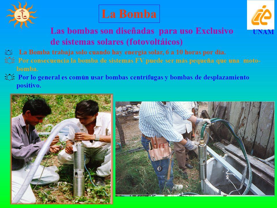 La Bomba Las bombas son diseñadas para uso Exclusivo de sistemas solares (fotovoltáicos) UNAM.