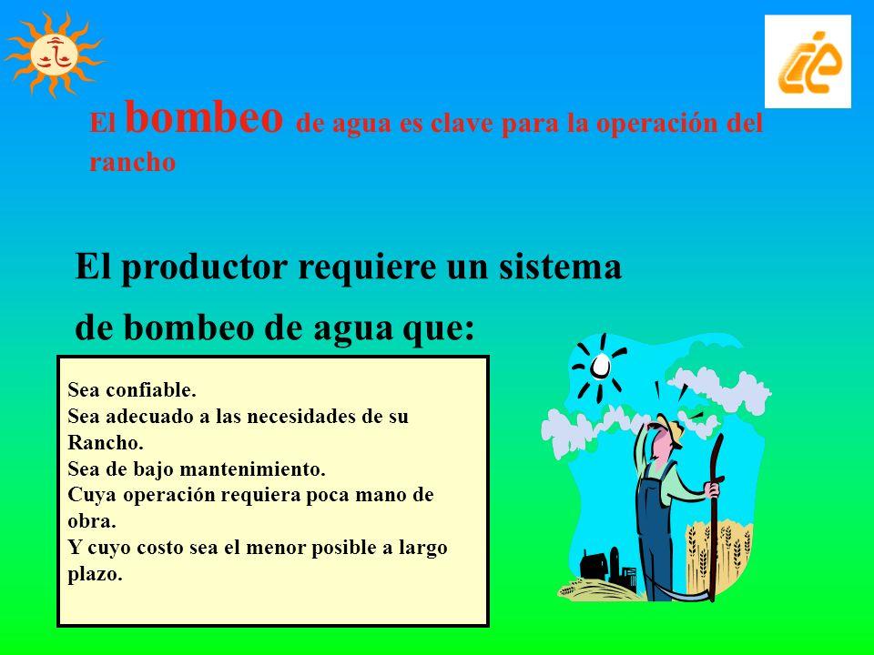 El productor requiere un sistema de bombeo de agua que: