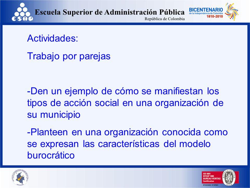 Actividades:Trabajo por parejas. Den un ejemplo de cómo se manifiestan los tipos de acción social en una organización de su municipio.