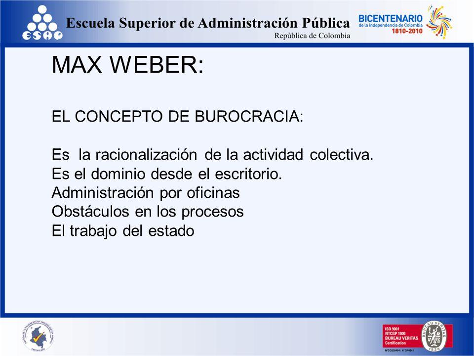 MAX WEBER: EL CONCEPTO DE BUROCRACIA: