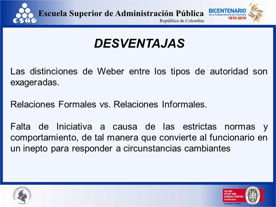 DESVENTAJAS Las distinciones de Weber entre los tipos de autoridad son exageradas. Relaciones Formales vs. Relaciones Informales.
