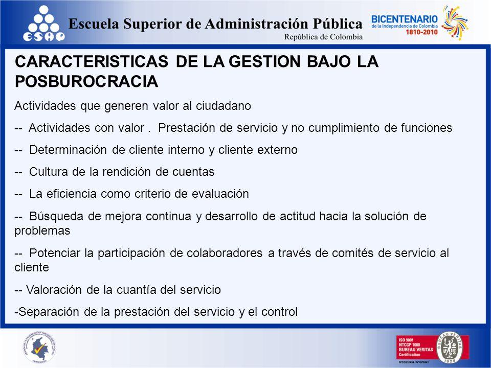 CARACTERISTICAS DE LA GESTION BAJO LA POSBUROCRACIA