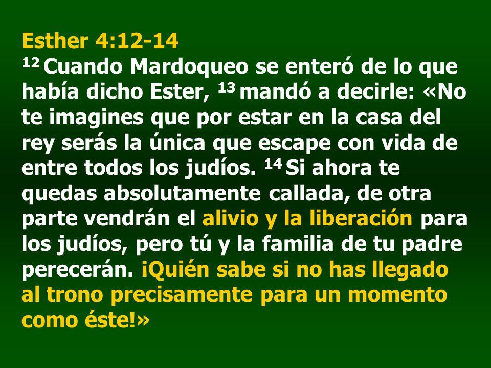 Esther 4:12-14 12 Cuando Mardoqueo se enteró de lo que había dicho Ester, 13 mandó a decirle: «No te imagines que por estar en la casa del rey serás la única que escape con vida de entre todos los judíos.