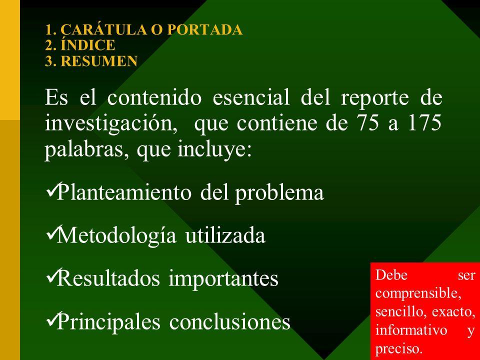1. CARÁTULA O PORTADA 2. ÍNDICE 3. RESUMEN