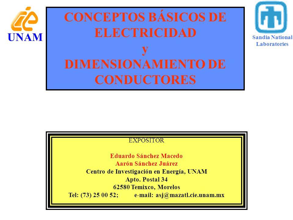 CONCEPTOS BÁSICOS DE ELECTRICIDAD y DIMENSIONAMIENTO DE CONDUCTORES