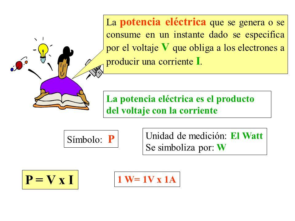 La potencia eléctrica que se genera o se consume en un instante dado se especifica por el voltaje V que obliga a los electrones a producir una corriente I.