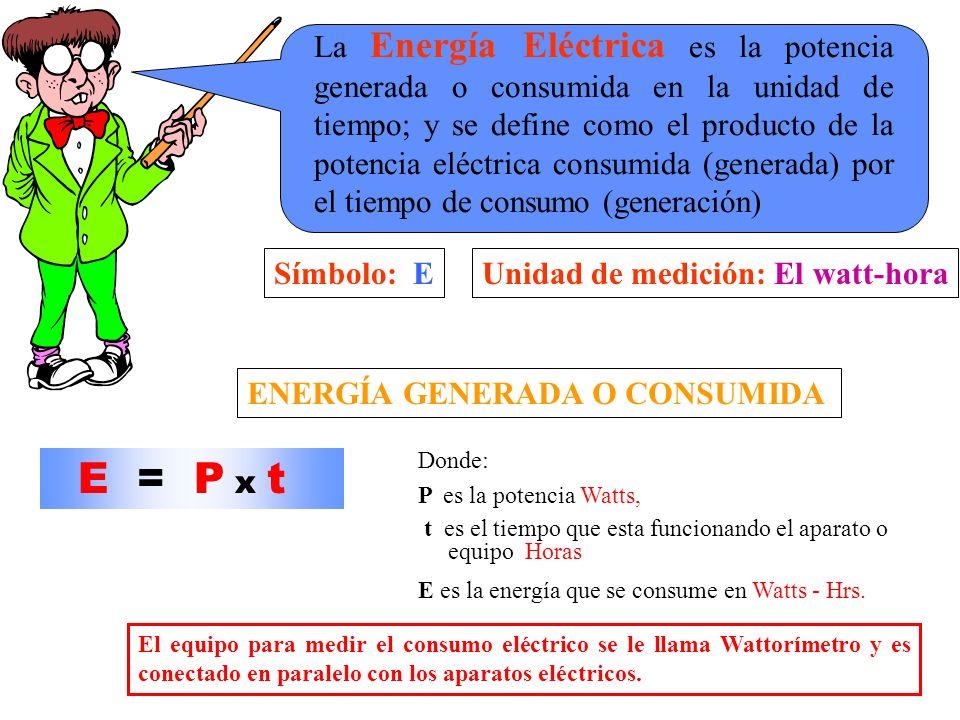 La Energía Eléctrica es la potencia generada o consumida en la unidad de tiempo; y se define como el producto de la potencia eléctrica consumida (generada) por el tiempo de consumo (generación)