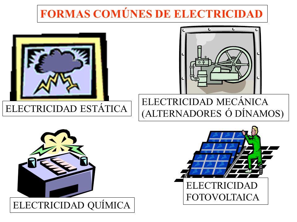 FORMAS COMÚNES DE ELECTRICIDAD