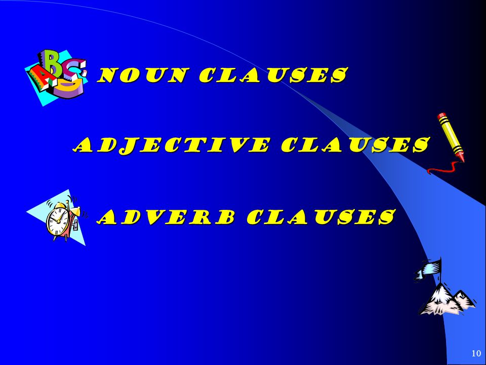 Noun Clauses Adjective Clauses Adverb Clauses