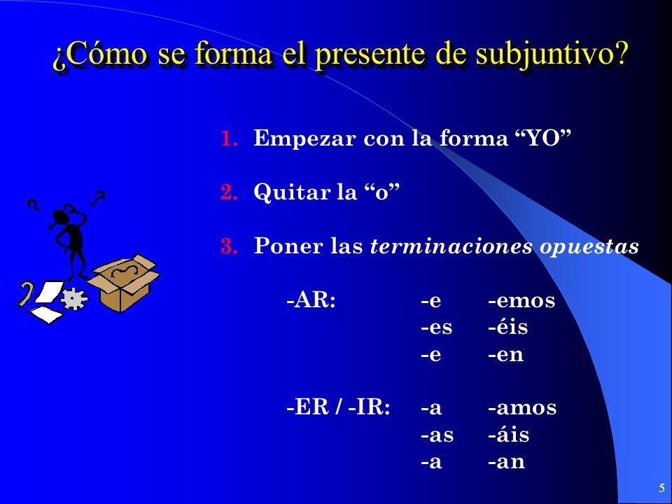 ¿Cómo se forma el presente de subjuntivo