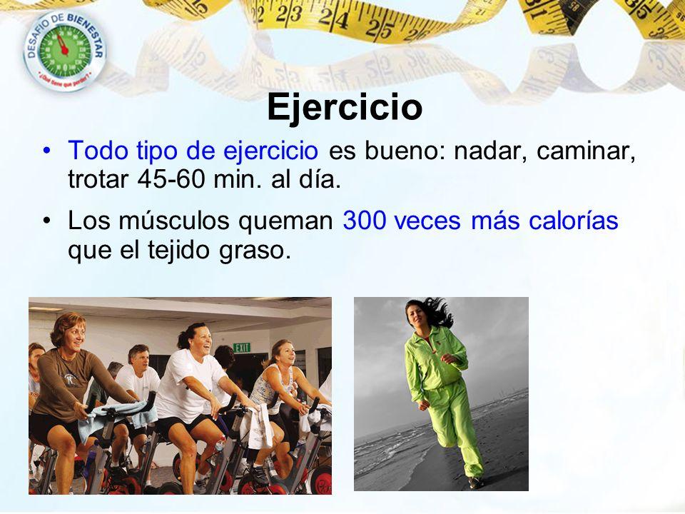 Ejercicio Todo tipo de ejercicio es bueno: nadar, caminar, trotar 45-60 min.