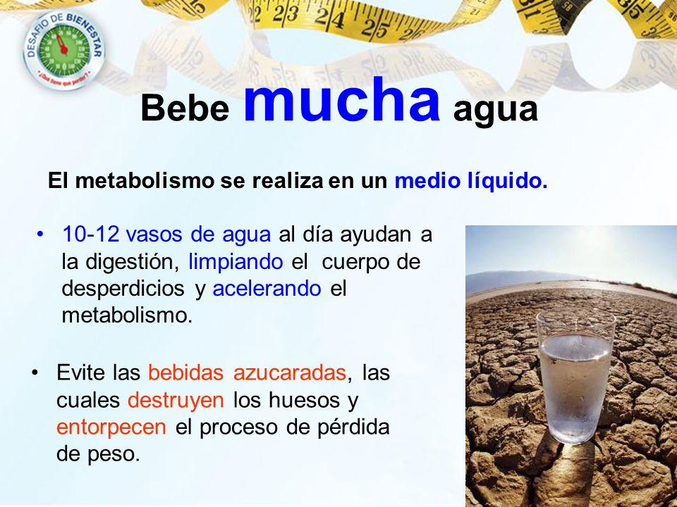 Bebe mucha agua El metabolismo se realiza en un medio líquido.