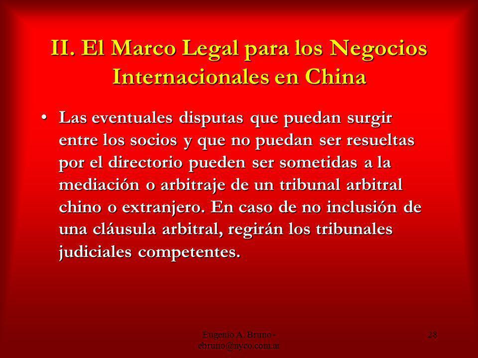 II. El Marco Legal para los Negocios Internacionales en China