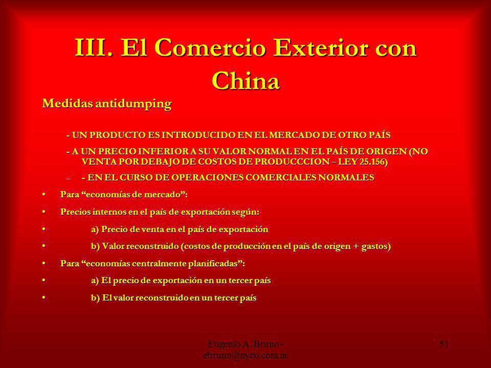 III. El Comercio Exterior con China