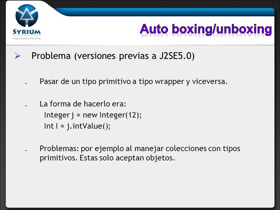 Auto boxing/unboxing Problema (versiones previas a J2SE5.0)