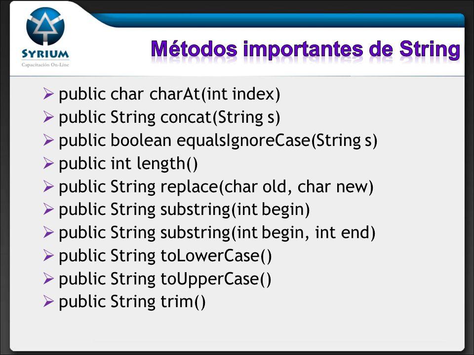 Métodos importantes de String