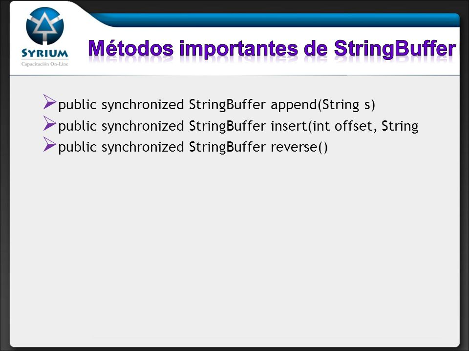 Métodos importantes de StringBuffer