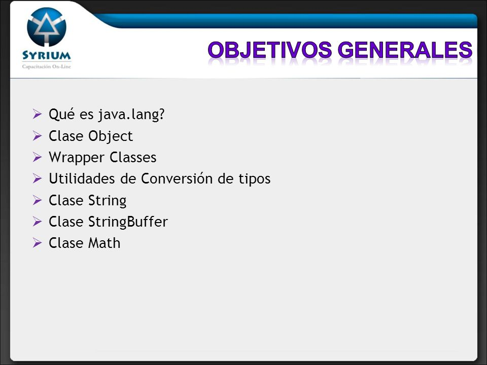 Objetivos generales Qué es java.lang Clase Object Wrapper Classes