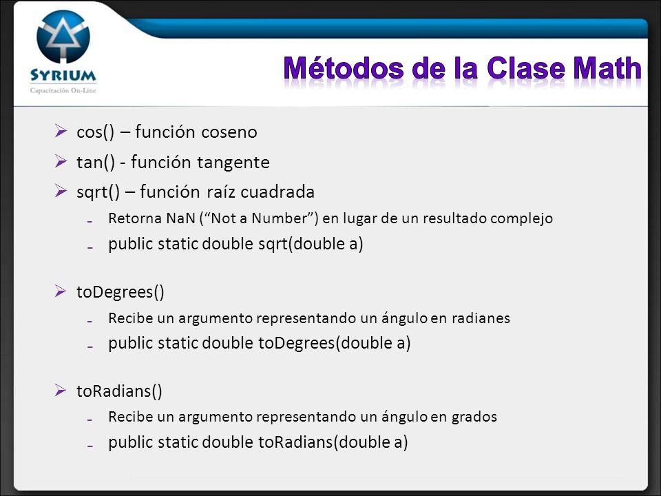 Métodos de la Clase Math