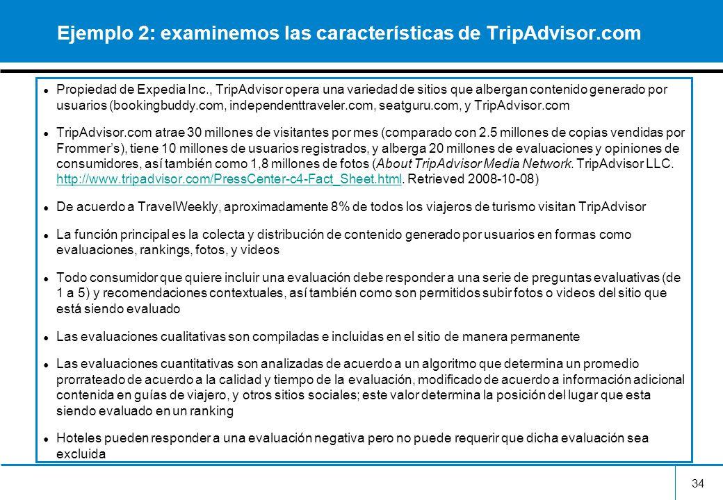 Ejemplo 2: examinemos las características de TripAdvisor.com