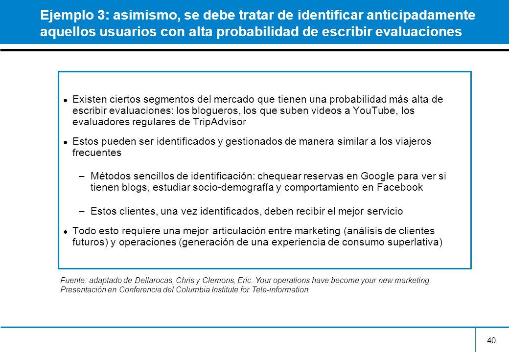 Ejemplo 3: asimismo, se debe tratar de identificar anticipadamente aquellos usuarios con alta probabilidad de escribir evaluaciones