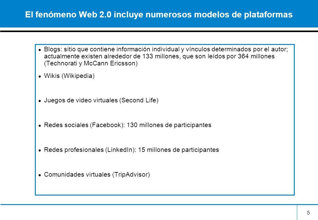 El fenómeno Web 2.0 incluye numerosos modelos de plataformas