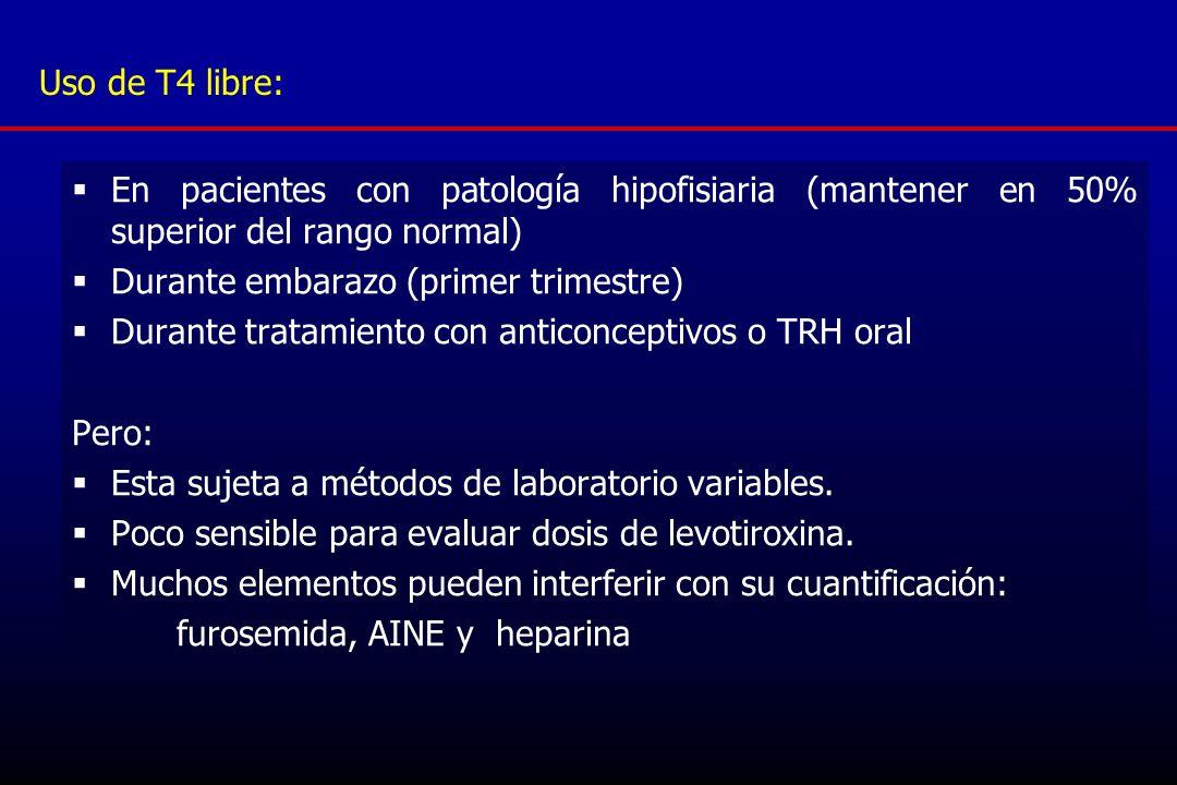 Uso de T4 libre:En pacientes con patología hipofisiaria (mantener en 50% superior del rango normal)