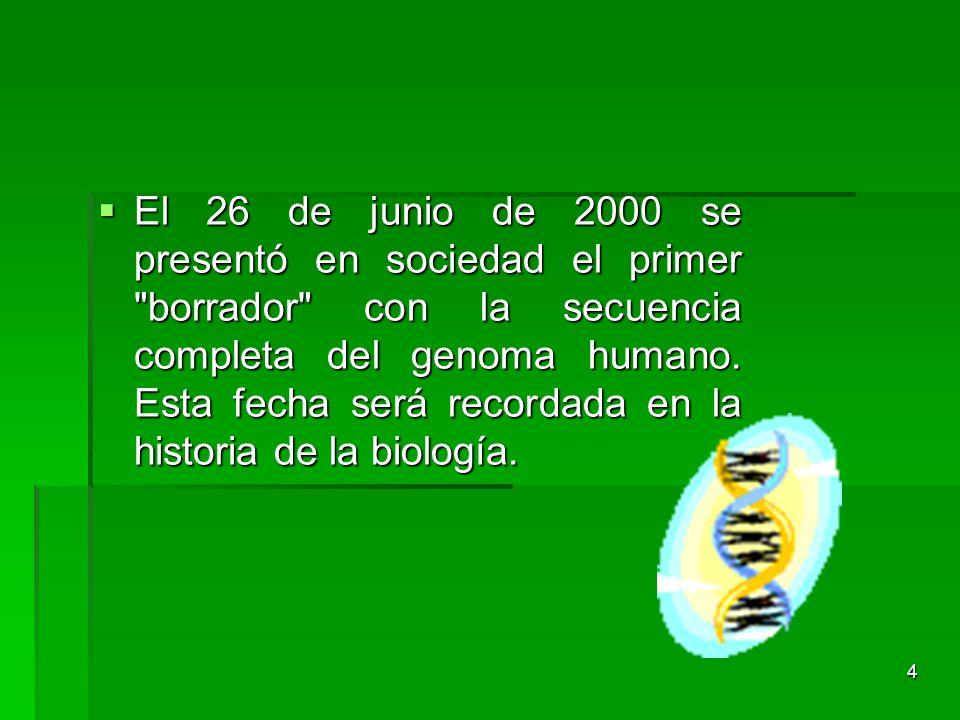 El 26 de junio de 2000 se presentó en sociedad el primer borrador con la secuencia completa del genoma humano.