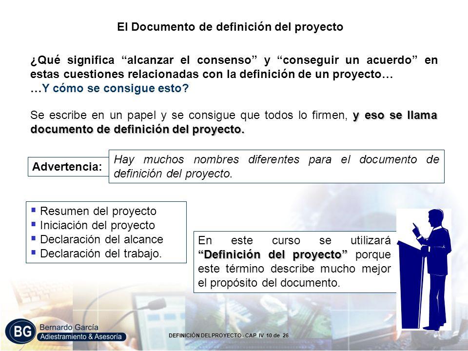 El Documento de definición del proyecto