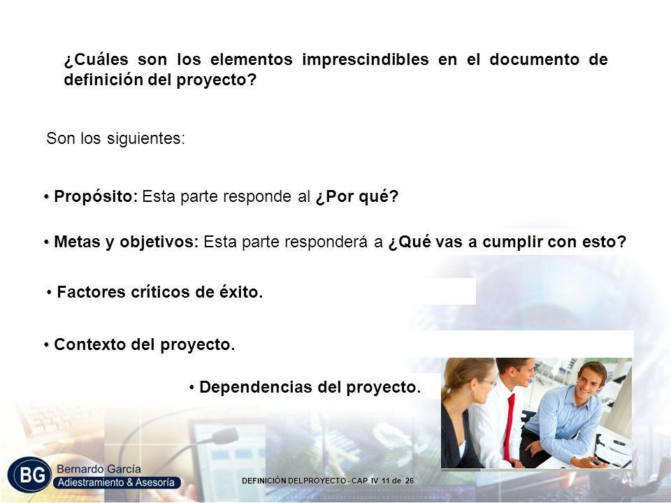 ¿Cuáles son los elementos imprescindibles en el documento de definición del proyecto