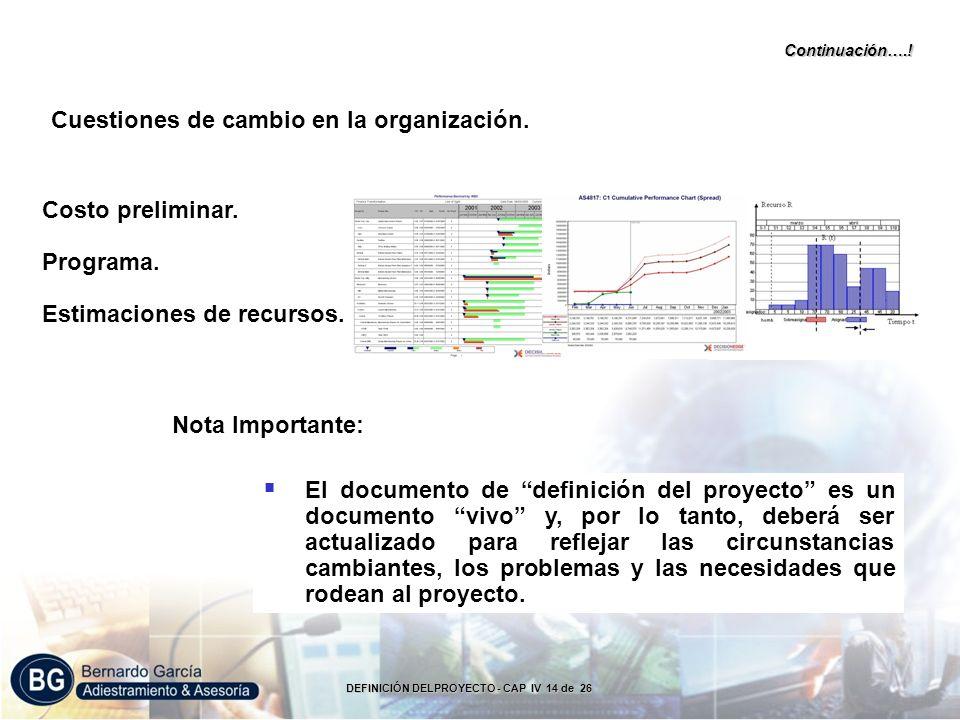 Nota Importante: Cuestiones de cambio en la organización.