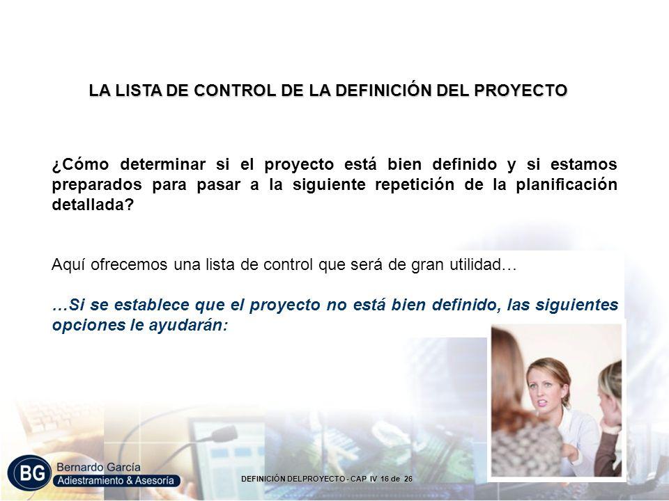 LA LISTA DE CONTROL DE LA DEFINICIÓN DEL PROYECTO