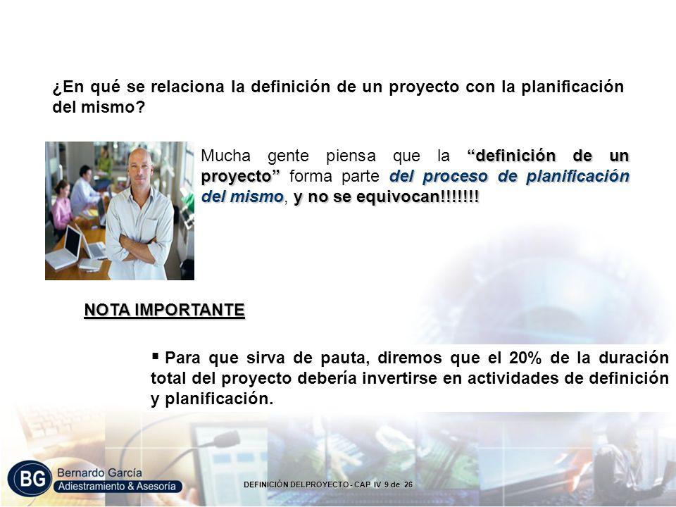 ¿En qué se relaciona la definición de un proyecto con la planificación del mismo