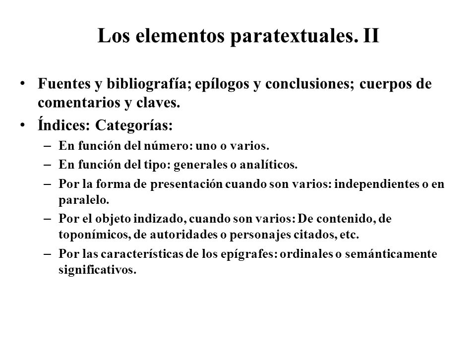 Los elementos paratextuales. II