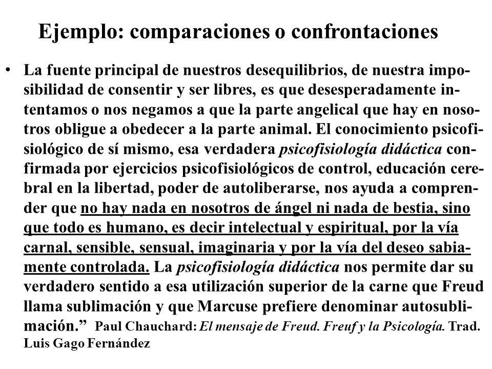 Ejemplo: comparaciones o confrontaciones