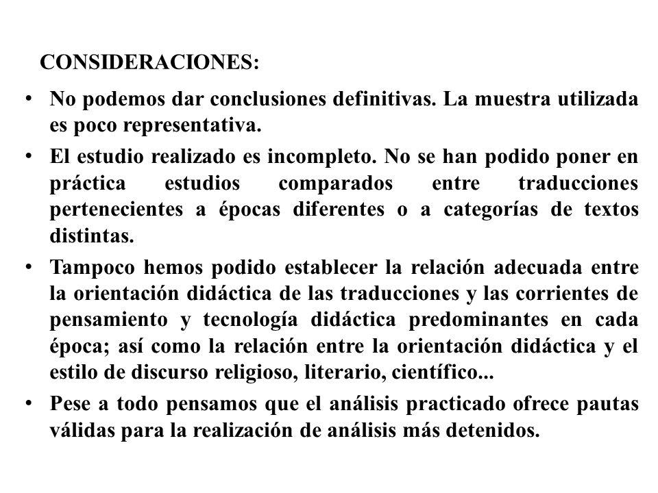 CONSIDERACIONES: No podemos dar conclusiones definitivas. La muestra utilizada es poco representativa.