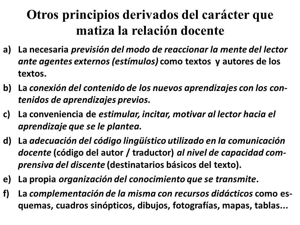 Otros principios derivados del carácter que matiza la relación docente