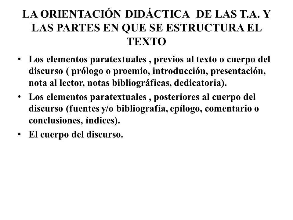 LA ORIENTACIÓN DIDÁCTICA DE LAS T. A