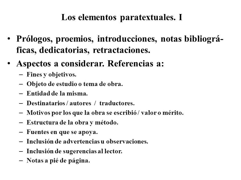 Los elementos paratextuales. I