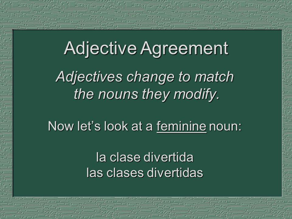 Adjective Agreement Adjectives change to match the nouns they modify.