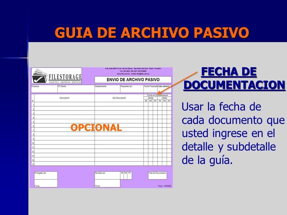FECHA DE DOCUMENTACION